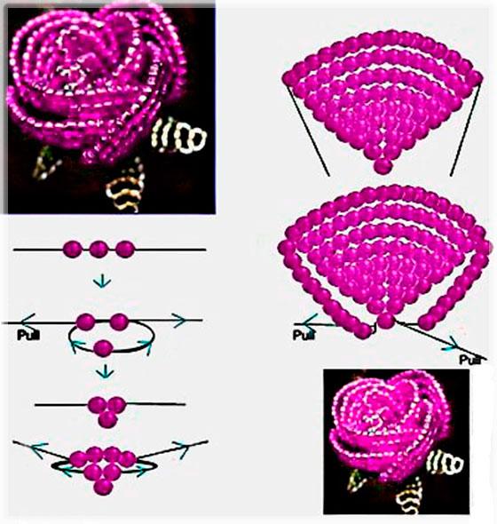 Как из бисера сделать розу букет
