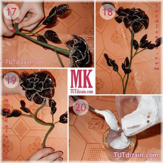 Черная роза из бисера своими руками