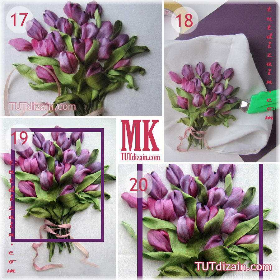 схема вышивки лентами тюльпаны