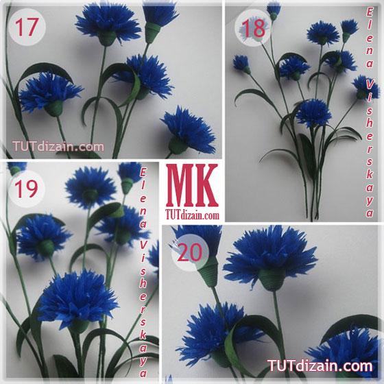 Полевые цветы из бумаги гофрированной своими руками 93