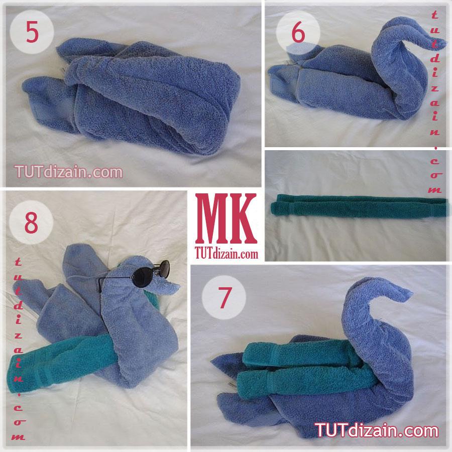 лебедь из полотенца пошаговое фото