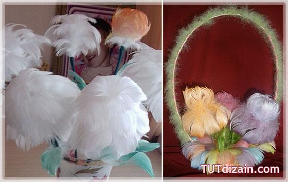 Цветы своими руками из перьев