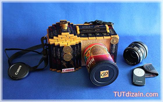 Фотоаппарат из конфет мастер класс