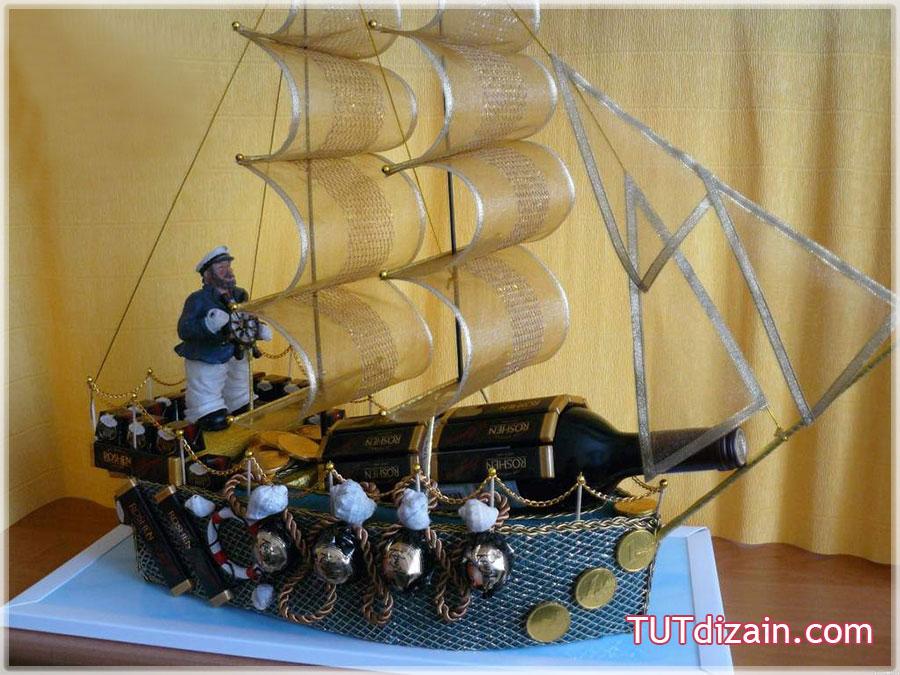 Корабль из бутылки и конфет своими руками пошаговое фото