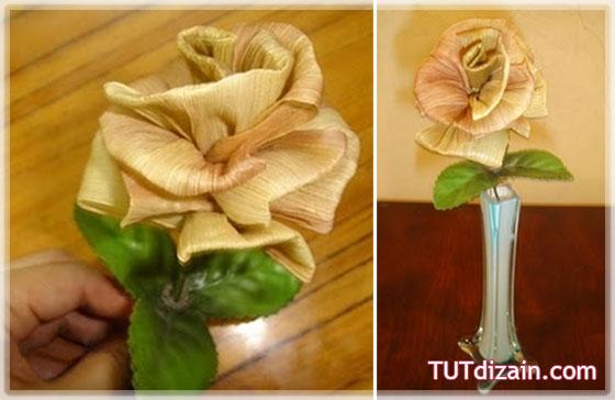 Цветы из кукурузы своими руками фото Цветы из листьев кукурузы, поделки из природных