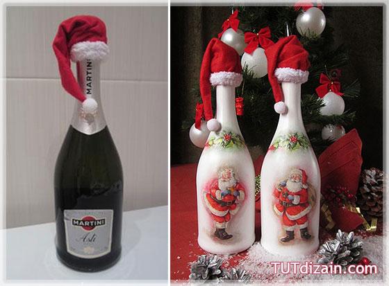 Украшенная бутылка из пряжи для нового года